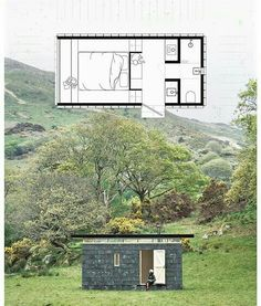 Like the floorplan but needs bigger windows all around. Tiny Cabins, Tiny House Cabin, Tiny House Living, Tiny House Design, Small House Plans, House Floor Plans, Casas Containers, Micro House, Container Design
