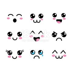 Kawaii faces eyes icon Royalty Free Vector Image Source by dorienenpeter icon Cute Little Drawings, Cute Easy Drawings, Kawaii Drawings, Doodle Drawings, Cartoon Drawings, Cartoon Faces Expressions, Funny Cartoon Faces, Comic Sketch, Griffonnages Kawaii