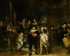 """https://www.facebook.com/MiaFeigelson """"Night Watch"""" """"Nachtwacht"""" (1642) By Rembrandt Harmenszoon van Rijn, from Leiden, Netherlands (1606 - 1669) - oil on canvas; 379.5 x 435.5 cm; 149.4 x 178.5 in - © The Rijksmuseum, Amsterdam  1817: transferred to the Rijksmuseum Amsterdam, Trippenhuis, Kloveniersburgwal 29, Amsterdam 1885: transferred to the Rijksmuseum Amsterdam, Stadhouderskade 42, Amsterdam https://www.rijksmuseum.nl/ https://www.facebook.com/rijksmuseum"""