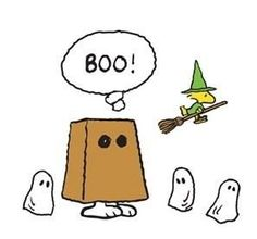 "Peanuts for Halloween: Snoopy dressed as a ghost in a paper sack says, ""BOO!"" Woodstock is a wizard flying on a broomstick, and his friends are dressed as ghosts. Snoopy Halloween, Snoopy Christmas, Holidays Halloween, Halloween Fun, Halloween Costumes, Halloween Decorations, Charlie Brown Costume, Charlie Brown Halloween, Charlie Brown And Snoopy"