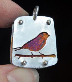 SOLD---Bird on Branch Argentium Silver Handcrafted Pierced Pendant