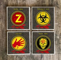 Zombie Drink Coasters Set of 4  Walking by SRVintageandDesigns