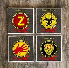 Zombie Drink Coasters Set of 4  Walking by SRVintageandDesigns