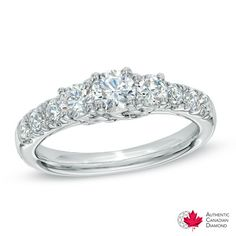 Celebration Canadian Grand™ 1.20 CT. T.W. Diamond Three Stone Ring in 14K White Gold (I/I1)  - Peoples Jewellers