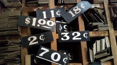 Dozen Antique General Store Price Tags by ZoeAmaris on Etsy, $5.95  #vintage #shabby #industrial #retro