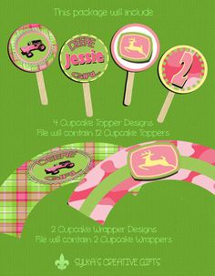 Cupcake Toppers & Wrappers-DIY-Custom-Personalized-Pink John Deere Girl-Deere Girl-Tractor Girl-Party Favors-Party Decorations