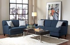 Finley Transitional Ink Blue Wood Fabric Living Room Set