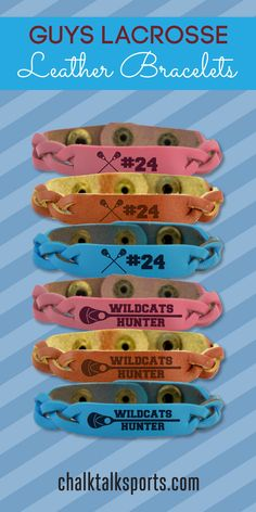 These guys lacrosse leather bracelets can be customized with a player name or player number! Great accessory for your favorite lacrosse player! Only from ChalkTalkSPORTS.com!