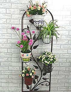 Simple - flor estante estilo europeo hierro Estante del pote de flor colgar en la pared suspensión fórmula balcón bastidores de flores interior sala de estar antepecho Estante del pote de flor Sin perder el sentido de la moda ( Color : 1 )