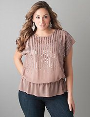 Elastic waist sequin top by Lane Bryant
