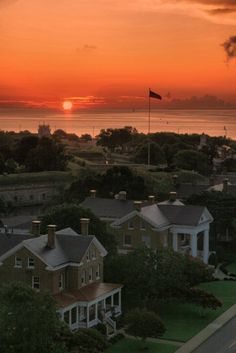 One of our favorite places to take an evening stroll!! Sunset on Fort Monroe, Hampton VA