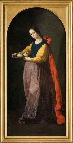 1630-33, Santa Agueda-Francisco de Zurbarán (1598-1664) oil on canvas,127×60 cm,Musée Fabre.