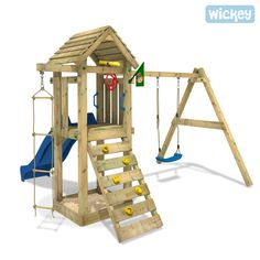 Wooden activity centre WICKEY Tarzans`s Hut, Large Wooden Climbing Frames, huge range of outdoor frames in our shop! Kids Backyard Playground, Preschool Playground, Backyard Swings, Backyard For Kids, Backyard Ideas, Backyard Landscaping, Kids Climbing Frame, Wooden Climbing Frame, Baby Swing Set