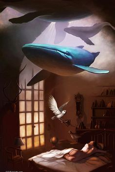 Conceptual Illustrations by Gabriella Liv Eriksson #FlyingWhale