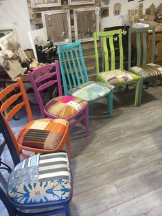 These colourful chairs have been given a new lease of life and will look amazing around your dining table, in a kitchen or as bedroom chairs.