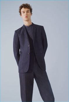 COS Navy Lightweight Wool Summer Suit