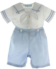 Infant boys heirloom blue & white Prince Bobby suit has square sailor collar with blue trim. Little Boy Outfits, Toddler Outfits, Baby Boy Outfits, Kids Outfits, Blue And White Two Piece, Baby Boy Christening Outfit, Sailor Baby, Sailor Outfits, Cute Little Boys
