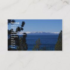 The lake at North Shore surrounded by pine greenery with the snow capped Sierra Nevada Mountains across the lake. Size: x Color: Signature UV Matte. California Colors, Tahoe California, Photographer Business Cards, Photography Business, Custom Business Cards, Sierra Nevada, North Shore, Lake Tahoe, Wedding Color Schemes