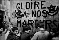 """howtoseewithoutacamera:  by Philip Jones Griffiths """"Glory to our martyrs"""". Children in the Casbah, Algiers, 1962."""