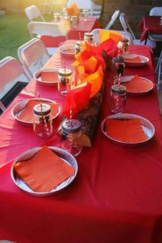 Camping birthday party table!  See more party planning ideas at CatchMyParty.com!