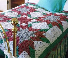 Quilted-Look Blue Star Afghan Blanket Crochet Pattern Instructions Throw