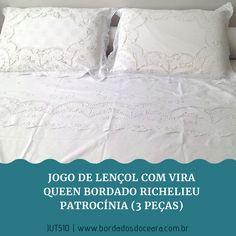 c0779a0845 Jogo de cama vira queen bordado richelieu 230 fios patrocínia (3 peças)