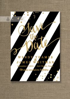 Gold Glitter Save the Date Invitation Black & door digibuddhaPaperie