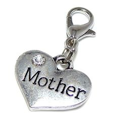 Silver Plated Dangling Clip-on Mother Heart Bead Charm Pendant by Lobster Clasp Clip Charms -- Awesome products selected by Anna Churchill