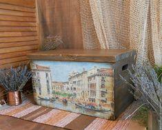 """Купить """"О,Венеция,сказочный город!"""" ларь из дерева - комбинированный, сундук, сундук из дерева"""