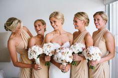 Tan bridesmaid gowns: http://www.stylemepretty.com/australia-weddings/victoria-au/melbourne/2014/02/27/traditional-melbourne-wedding/   Photography: Jerome Cole - http://www.jeromecole.com.au/