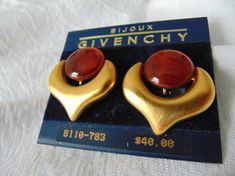 givenchy matte gold amber lucite earrings signed mint nwt clip
