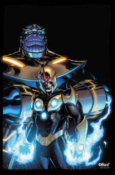 Thanos & Nova Pencil and Ink Ed McGuiness & Color by Kyle Ritter