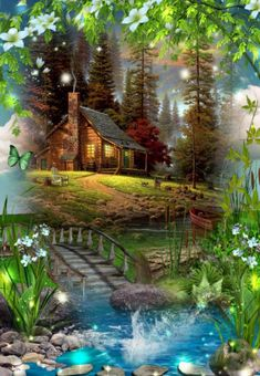 """Second Diamond Paint """"Margarita Flower Scenery"""" Embroidery Thirtieth Character Frame Mosaic Diamond Decoration Landscape Pictures, Nature Pictures, Art Pictures, Landscape Paintings, Beautiful Paintings, Beautiful Landscapes, Beautiful Images, Beautiful Scenery, Kinkade Paintings"""
