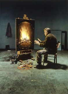 "Teun Hocks: ""There's a big backdrop that I paint or build. I stand in the middle of that. Then I take a picture of myself in black and white and enlarge it. I do it myself in the darkroom & I tone the picture sepia. And later I add oil paint. I color everything, but it's transparent, so that you can see the picture underneath.""   Midlife crisis series"