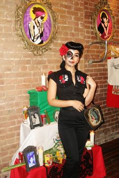 PinUp sugar skull makeup - I wanted to be a PinUp girl and I wanted to do the sugar skull makeup - perfect! @Amanda W.