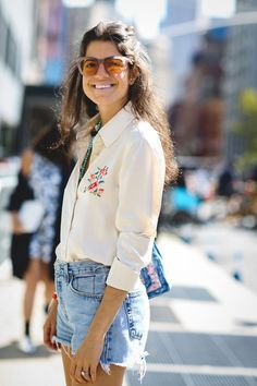 The Raddest Beauty Street Style From NYFW #refinery29  http://www.refinery29.com/2016/09/122660/best-makeup-hair-nyfw-spring-2017-photos#slide-2  We love seeing Leandra Medine embrace her waves. ...
