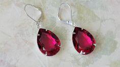 Ruby Rhinestone Earrings Bridesmaid Gift by ArtistInJewelry