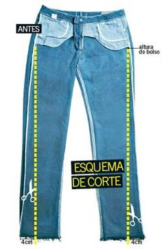 Aprenda a transformar o seu jeans básico no modelo skinny. i assume this is how to sew flared jeans into skinny jeansPara acessar as instruções, clique AQUIExample of how NOT to alter jeans. This disturbes the grainlineDIY Trends / Crafts this wee Diy Jeans, Recycle Jeans, Diy With Jeans, Jeans Pants, Altering Jeans, Altering Clothes, Fashion Sewing, Diy Fashion, Sewing Hacks