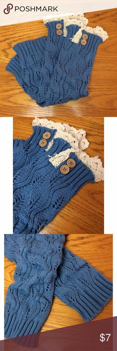 NWOT Blue Knit Leg Warmers with Lace Cuff Blue Knit Leg Warmers with Lace Cuff  In excellent condition, never worn  Size One Size Boutique Accessories Hosiery & Socks