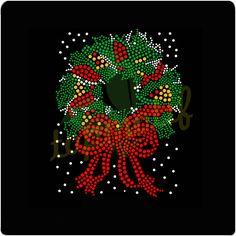 "Christmas Rhinestone Iron on Transfer Hot Fix Bling ""Beautiful Christmas Wreath"" Christmas Tops, Merry Christmas, Christmas Shirts, Christmas Ideas, Christmas Crafts, Christmas Ornaments, Christmas Mandala, Hot Fix, Rhinestone Transfers"