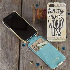 """Natural Life Beige Flip Style iPhone 5 Phone Case- """"Pray More Worry Less"""""""