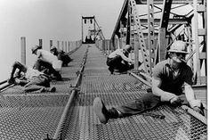 Building the Mackinac Bridge.