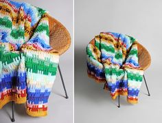 Vintage Multi Color Granny Stripes Afghan by GirlLeastLikely
