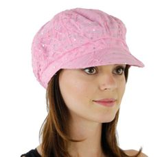 Women's Glitter Sequin Trim Newsboy Style Relaxed Fit Hat Cap