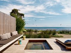 Perched on a bluff overlooking the Pacific Ocean, Surf House is located in the central California city of Santa Cruz. Surf House, Beach House, Santa Cruz Surf, Monterey Cypress, Backyard Pavilion, Tiered Garden, Front Courtyard, California City, Central California