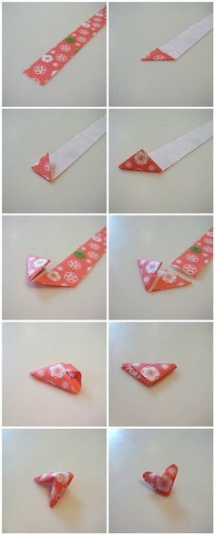 origami hearts - 3D but small, super easy - less than a minute each once you cut the paper strips.
