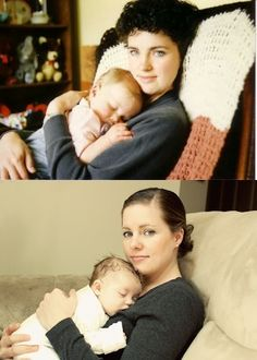 before: your mom holding you  After: you holding your baby