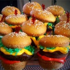 """Hamburger Cupcakes: A very tasty treat in disguise! Dazzle your friends with your creativity and surprise them with a sweet-tasting """"hamburger."""" They're pretty easy to make believe it or not!"""