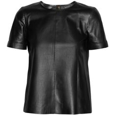 Gucci Leather T-shirt ($825) ❤ liked on Polyvore featuring tops, t-shirts, shirts, gucci, leather, leather t-shirt, black top, black tee and gucci tee