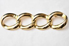 "Vintage Geometric Interlocking Circle Bar Statement Brooch Gold Tone Mod Coat Sweater Pin Modernist Retro Costume Jewelry 3.5"" by DecoOwl on Etsy"